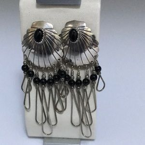Sterling Concho Earrings With Onyx Accents